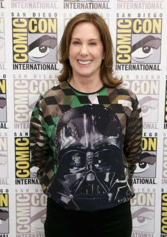 "SAN DIEGO, CA - JULY 10: Producer Kathleen Kennedy at the Hall H Panel for ""Star Wars: The Force Awakens"" during Comic-Con International 2015 at the San Diego Convention Center on July 10, 2015 in San Diego, California. (Photo by Jesse Grant/Getty Images for Disney) *** Local Caption *** Kathleen Kennedy"